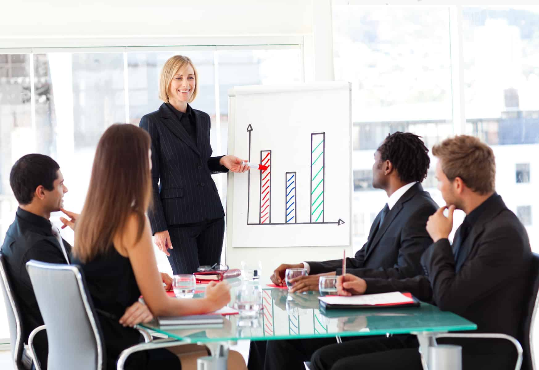 businesswoman leading a diverse team meeting